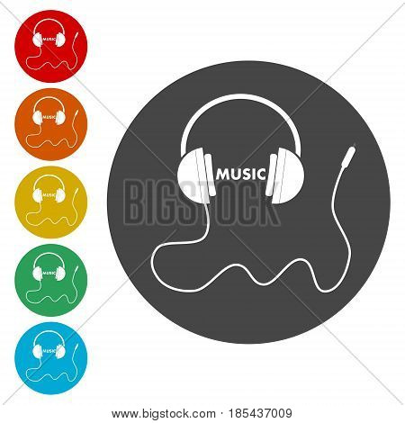 Headphones with cord and word Music icons set