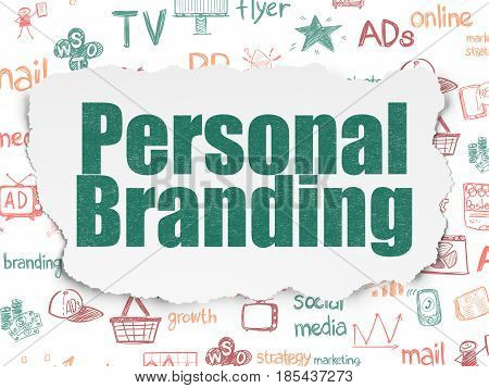 Advertising concept: Painted green text Personal Branding on Torn Paper background with  Hand Drawn Marketing Icons