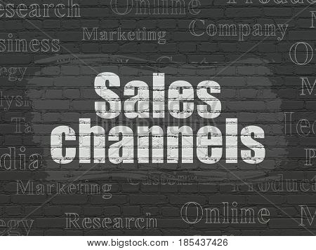 Marketing concept: Painted white text Sales Channels on Black Brick wall background with  Tag Cloud
