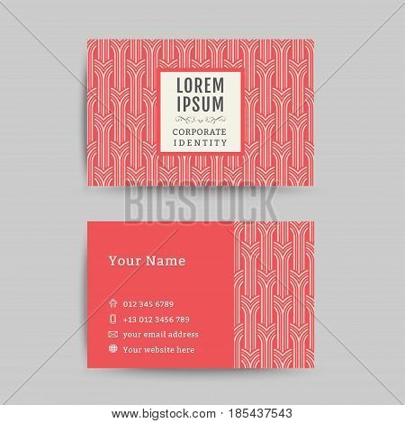 Business card art deco design template, art deco pattern background