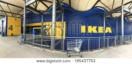 Southampton, UK - 7 May 2017: Panoramic view of the entrance to the Southampton Ikea Store. IKEA is the largest furniture retailer in the world and sells self assembly furtinure and household goods.