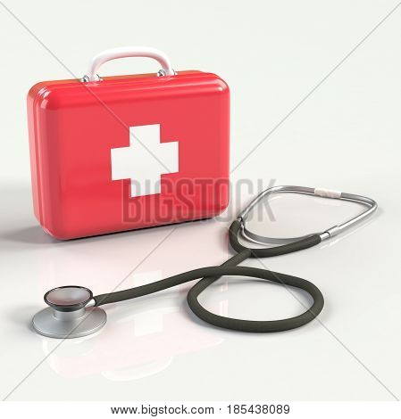 First aid kit with stethoscope. Red doctor's bag with white cross with reflection. Emergency, healthcare, paramedic assistance concept.