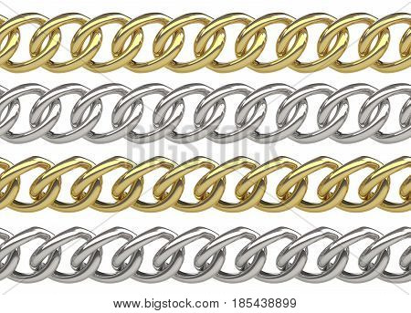 Seamless golden and silver curb chains isolated on white
