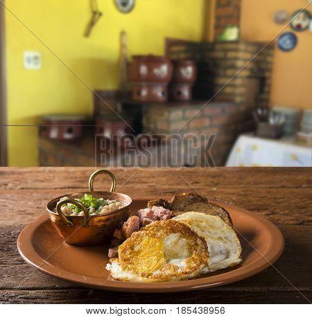 Traditional Brazilian Lunch Dish Called Virado A Paulista
