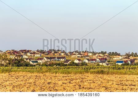 Houses under construction in the Russian village. Rural landscape of the Belgorod region