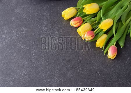 Bouquet of rosy and yellow tulips on a black abstract background. Space for text. Romance concept