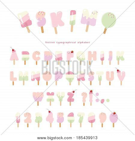 Ice cream eskimo font. Popsicle colorful letters and numbers can be used for summer design. Isolated on white. Vector