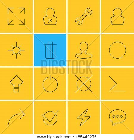 Vector Illustration Of 16 UI Icons. Editable Pack Of Repeat, Displacement, Share And Other Elements.