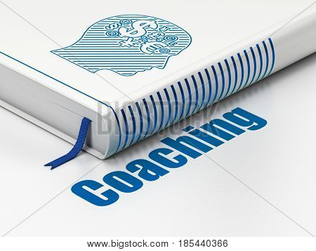 Education concept: closed book with Blue Head With Finance Symbol icon and text Coaching on floor, white background, 3D rendering
