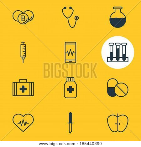 Vector Illustration Of 12 Medicine Icons. Editable Pack Of Heart Rhythm, Painkiller, Experiment Flask And Other Elements.
