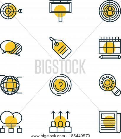 Vector Illustration Of 12 Advertising Icons. Editable Pack Of Network, Discussing, Analysis And Other Elements.