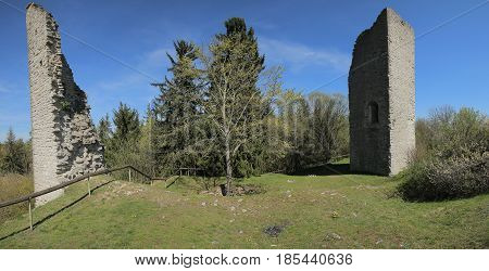 Castle Ruin Bechthal From Inside In Bavaria In Germany