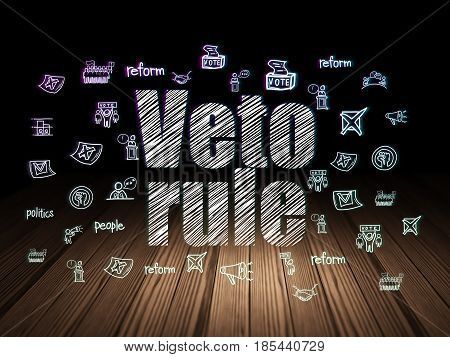 Politics concept: Glowing text Veto Rule,  Hand Drawn Politics Icons in grunge dark room with Wooden Floor, black background