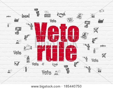 Political concept: Painted red text Veto Rule on White Brick wall background with  Hand Drawn Politics Icons