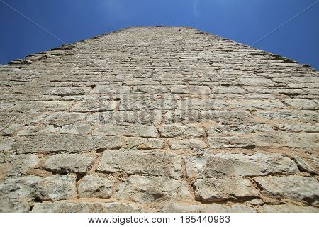Unusual Wide Angle Upward View Of A Castle Keep