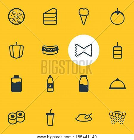 Vector Illustration Of 16 Meal Icons. Editable Pack Of Eggplant, Drink Bottle, Cruet And Other Elements.