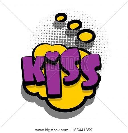 Lettering KISS, xoxo, love. Comics book text balloon. Bubble icon speech phrase. Cartoon font label offer tag expression. Sounds vector effect halftone illustration.