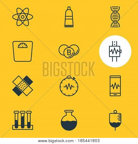 Vector Illustration Of 12 Health Icons. Editable Pack Of Heartbeat, Pressure Gauge, Patch And Other Elements.