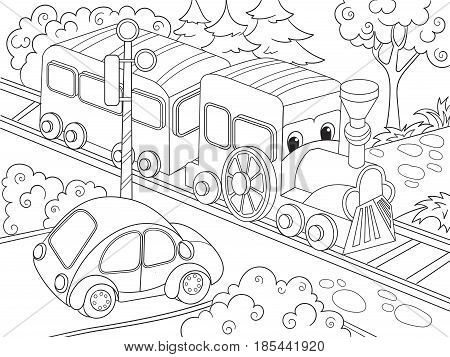 Cartoon train train and car coloring book for children cartoon vector illustration. Black and white