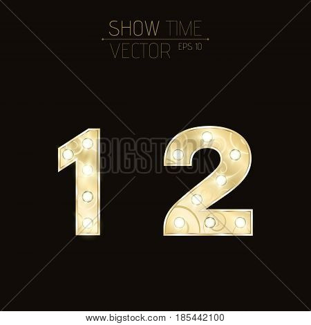 Gold figures 1 and 2 with a curly pattern. Beautiful flashing light bulbs. Realistic vector illustration on a dark background for shows and presentations. EPS 10