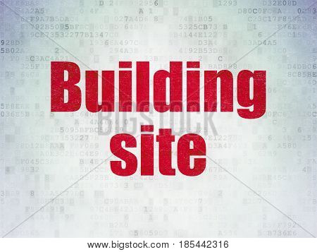 Construction concept: Painted red word Building Site on Digital Data Paper background