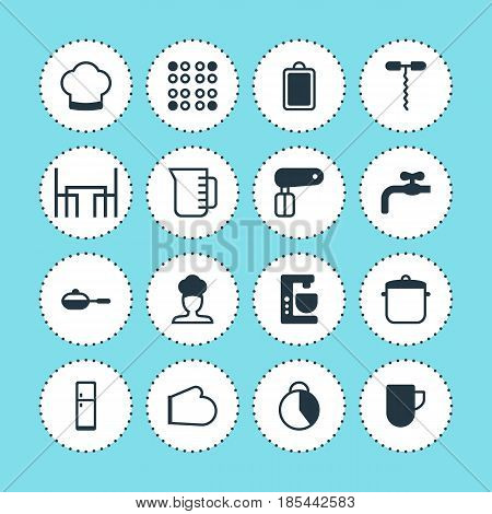 Vector Illustration Of 16 Cooking Icons. Editable Pack Of Cooker, Mixer, Timekeeper And Other Elements.