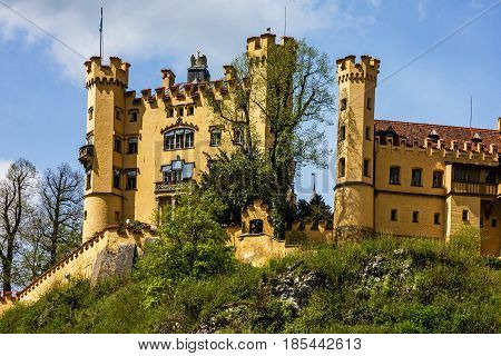 castle in Bavaria, Germany. Hohenschwangau architectural view