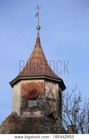 Top Of A Desolate Tower With Clock