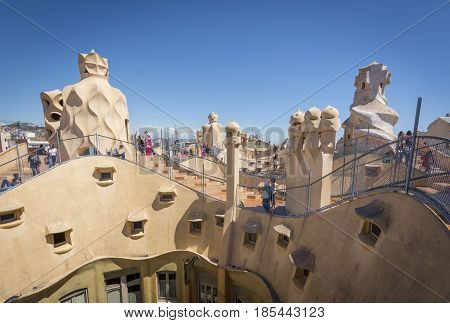 Barcelona, Spain. May 6, 2017: Roof Of Casa Mila, Also Known As La Pedrera, By Catalan Architect Ant