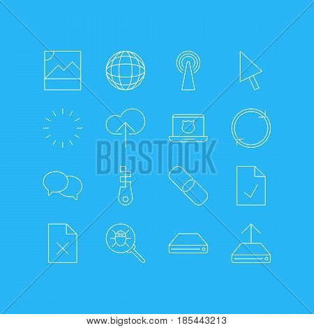 Vector Illustration Of 16 Web Icons. Editable Pack Of Router, Hard Drive Disk, Chain And Other Elements.