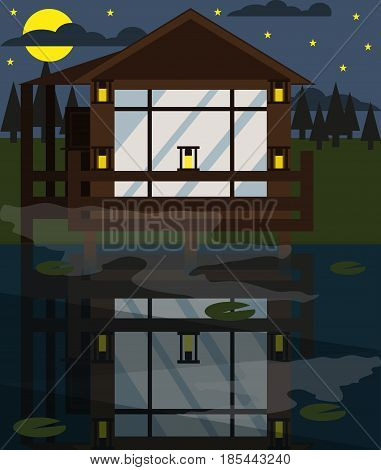 House on the water. Vector. Flat design. Illustration of house at night  on the countryside next to the river.