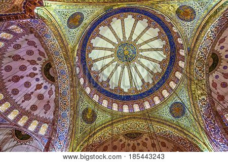 Istanbul, Turkey - May 9, 2017: Ceiling of Blue Mosque Sultanahmet, Istanbul, Turkey