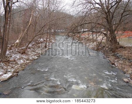 The  Rushing  Rapids  of  Gunpowder  Falls  as  seen  from  the  Northern  Central  Rail  Trail  in  Parkton,  Maryland.