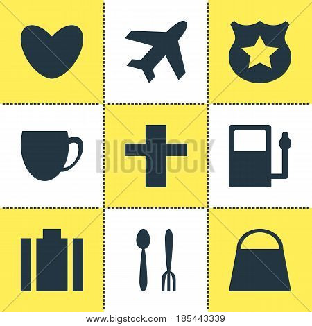 Vector Illustration Of 9 Check-In Icons. Editable Pack Of Cafe, Coffee Shop, Cop And Other Elements.