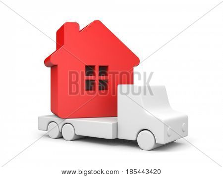 Resettlement. Red house. 3d render