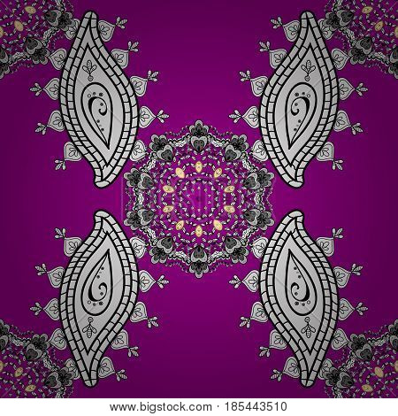 White seamless pattern on magenta background with white elements. Vector abstract background with repeating elements. Vector illustration. Seamless damask classic white pattern.