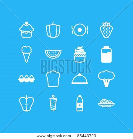 Vector Illustration Of 16 Cuisine Icons. Editable Pack Of Muffin, Platter, Cotton And Other Elements.