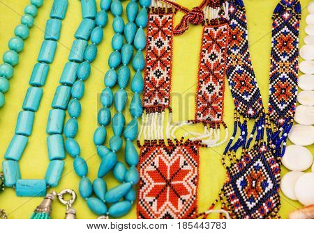 Bead necklaces ornamental decoration jewelery multicolor pattern