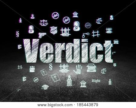 Law concept: Glowing text Verdict,  Hand Drawn Law Icons in grunge dark room with Dirty Floor, black background