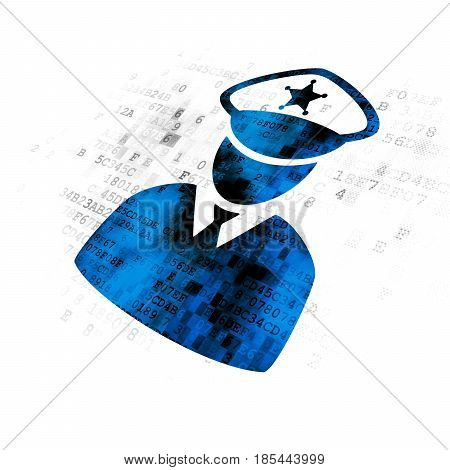 Law concept: Pixelated blue Police icon on Digital background