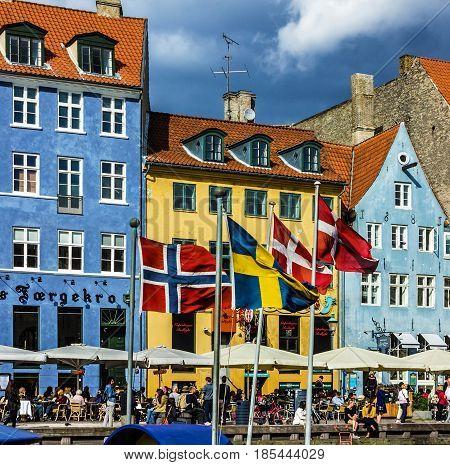 COPENHAGEN, DENMARK - MAY 6, 2017: Seafront Nyhavn in the center of Copenhagen, Denmark