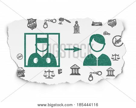 Law concept: Painted green Criminal Freed icon on Torn Paper background with  Hand Drawn Law Icons