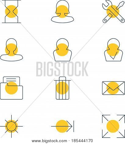 Vector Illustration Of 12 Interface Icons. Editable Pack Of Avatar, Sunshine, Maintenance And Other Elements.