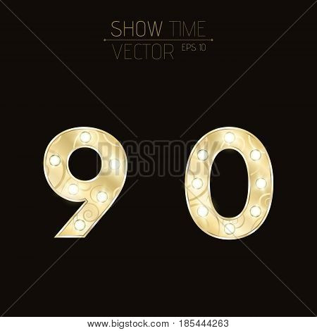 Gold figures 9 and 0 with a curly pattern. Beautiful flashing light bulbs. Realistic vector illustration on a dark background for shows and presentations. EPS 10