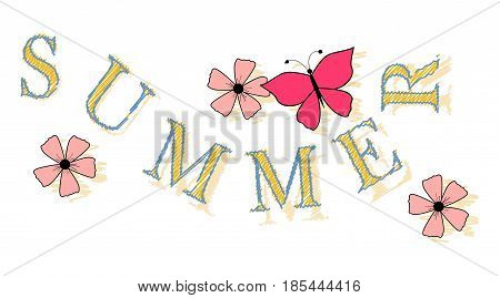 Word summer with flowers and a butterfly. Vector illustration
