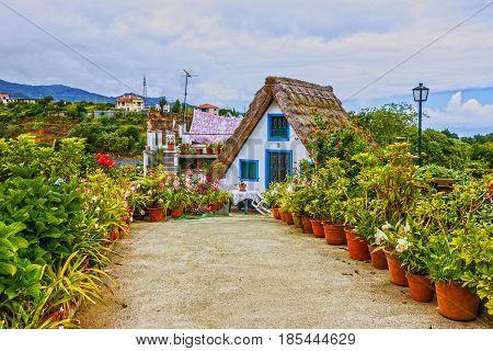 Madeira, Portugal - May 8, 2017: Rural house in Santana, Madeira, Portugal.
