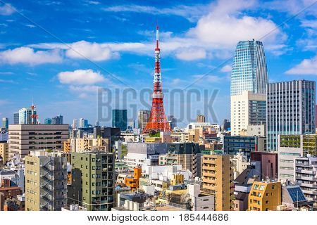 Tokyo, Japan cityscape and tower.