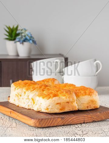 Fresh homemade cheddar cheese tea biscuits. Ample room for text.