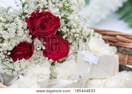 engagement boxes with red roses in basket