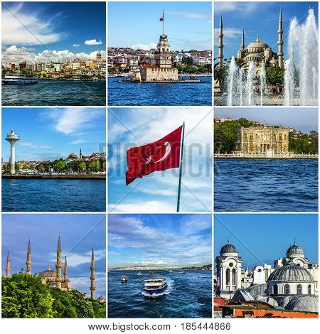 Collage - travel Istanbul landmarks and landscapes, Turkey